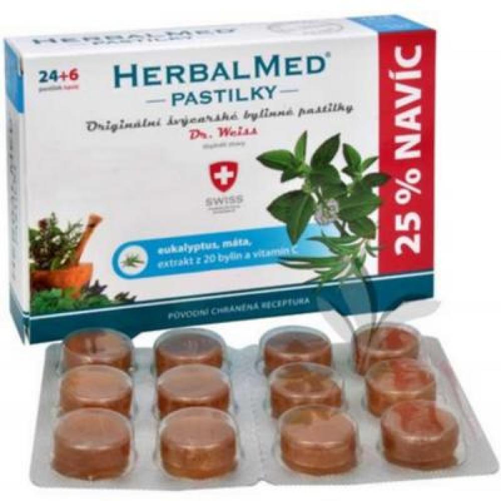 DR. WEISS HerbalMed pastilky Eukalypt + máta + vitamín C 24+6 pastilek