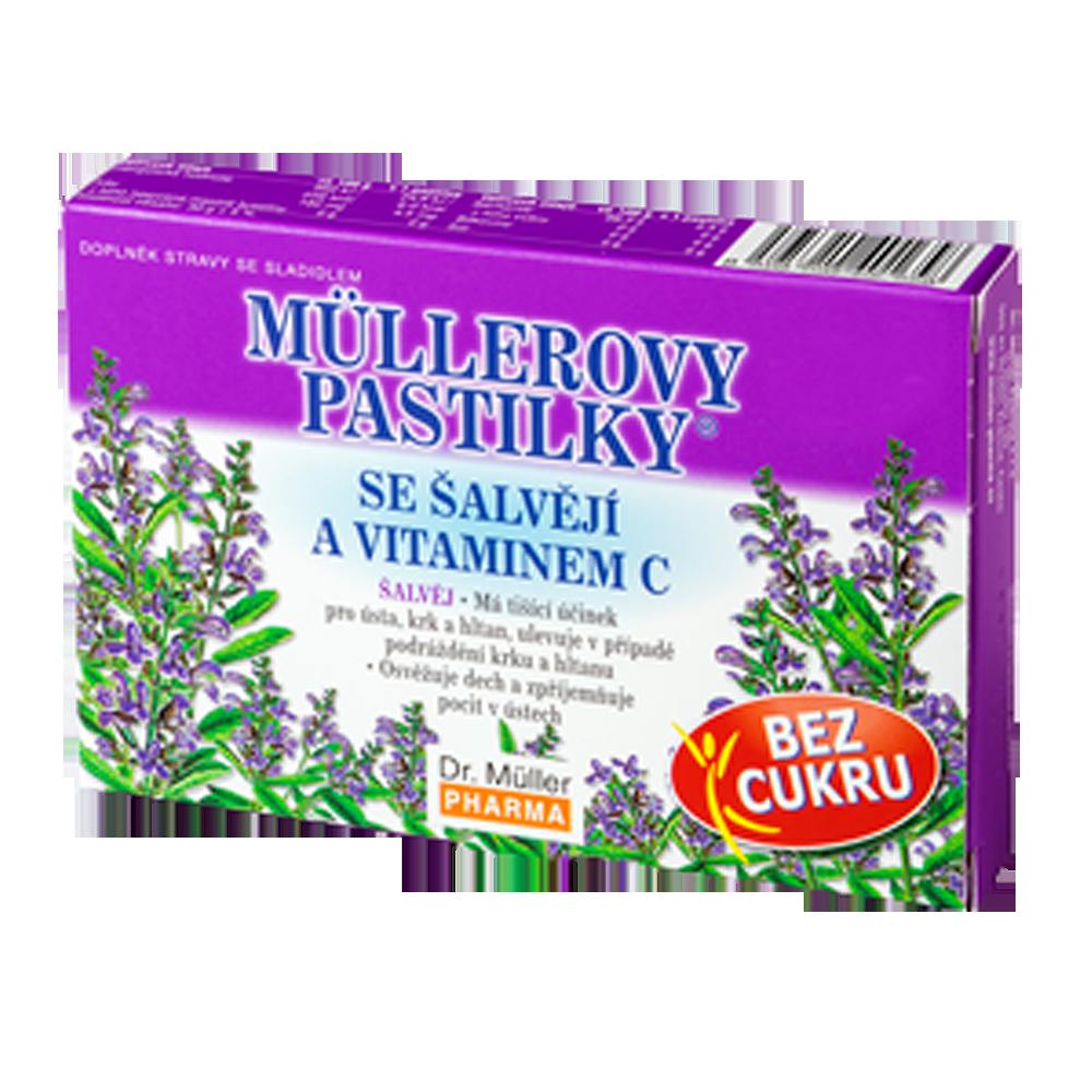 DR. MÜLLER Müllerovy pastilky se šalvějí a vitaminem C 12 pastilek