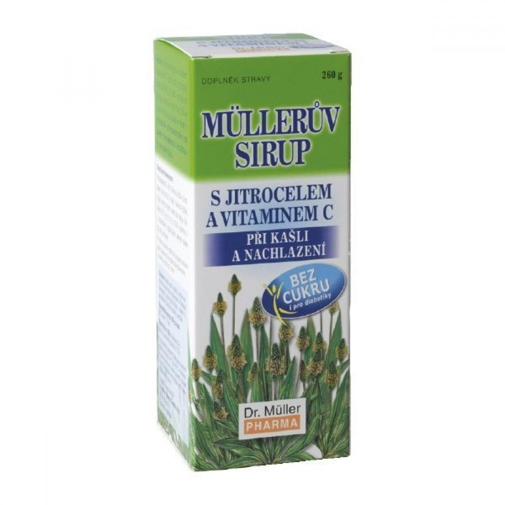 Müllerův sirup s jitrocelem a vitamínem C bez cukru 260g