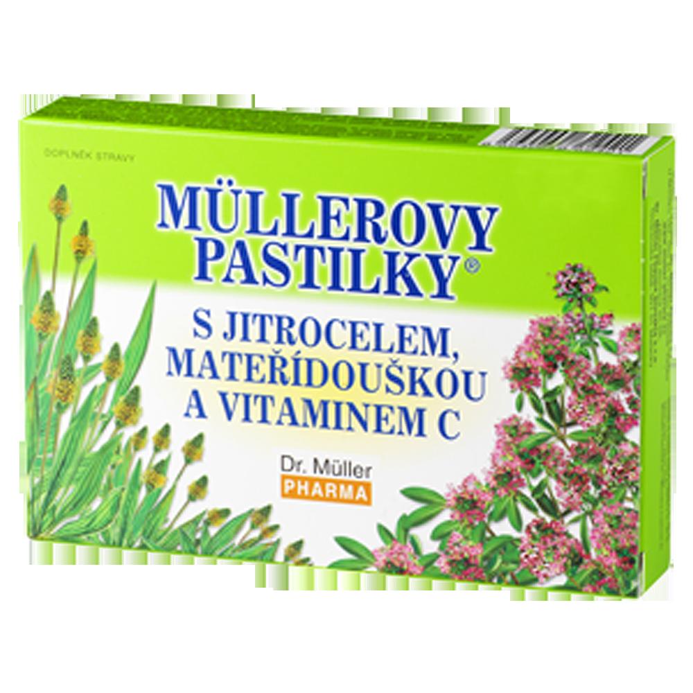 DR. MÜLLER Müllerovy pastilky s jitrocelem, mateřídouškou a vitaminem C 36 pastilek