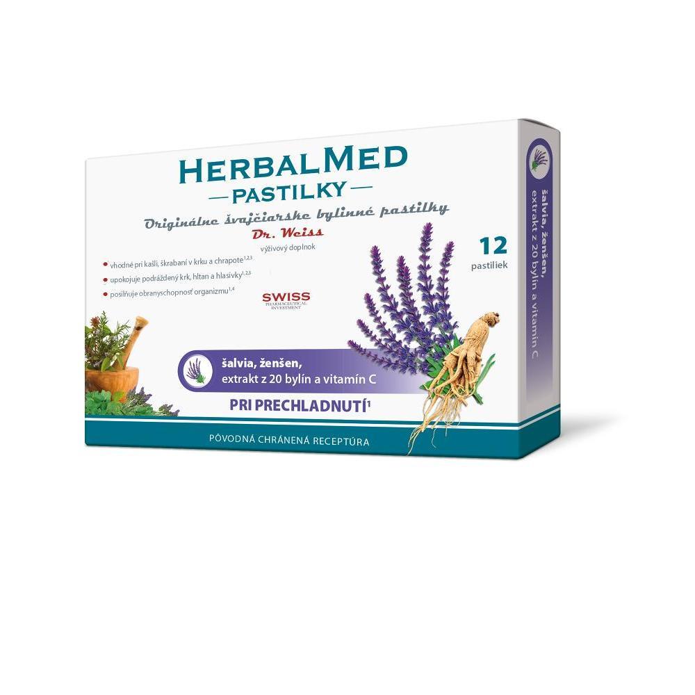 DR. WEISS HerbalMed pastilky Šalvěj + ženšen + vitamín C  12 pastilek