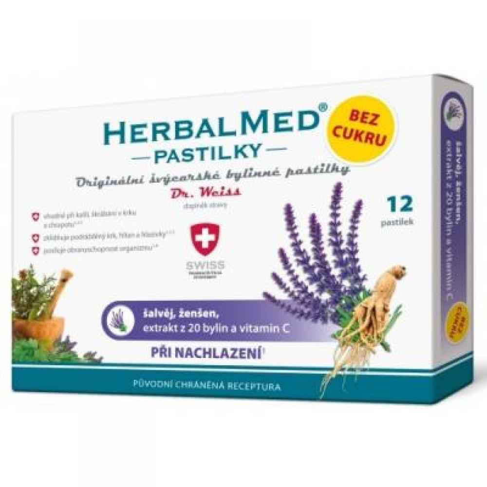 DR. WEISS HerbalMed pastilky bez cukru Šalvěj + ženšen + vitamín C