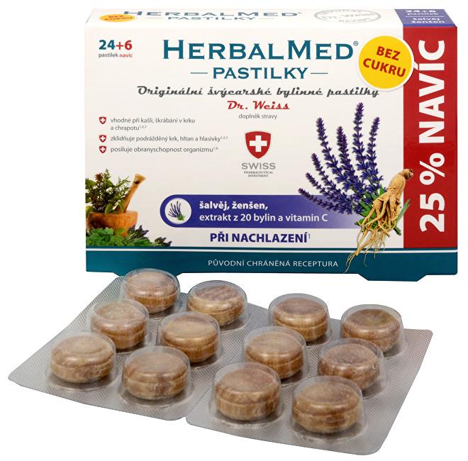 DR. WEISS HerbalMed pastilky bez cukru Šalvěj + ženšen + vitamín C 24+6