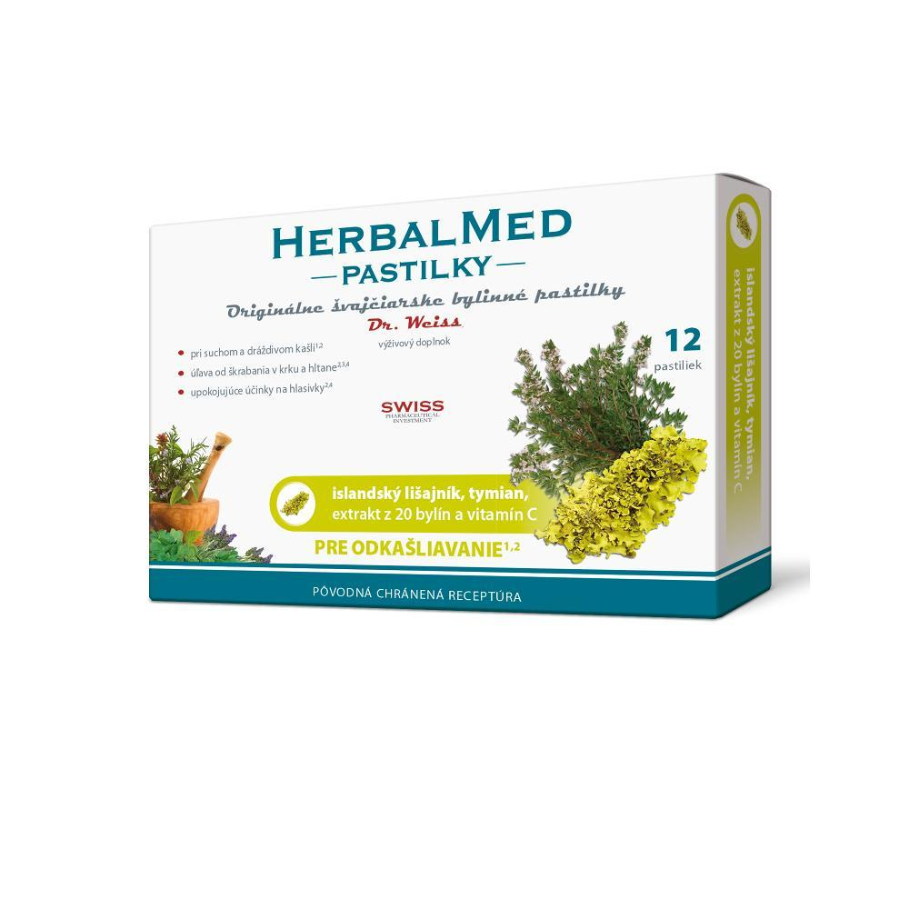 DR. WEISS HerbalMed pastilky Islandský lišejník + tymián + vitamín C 12 pastilek